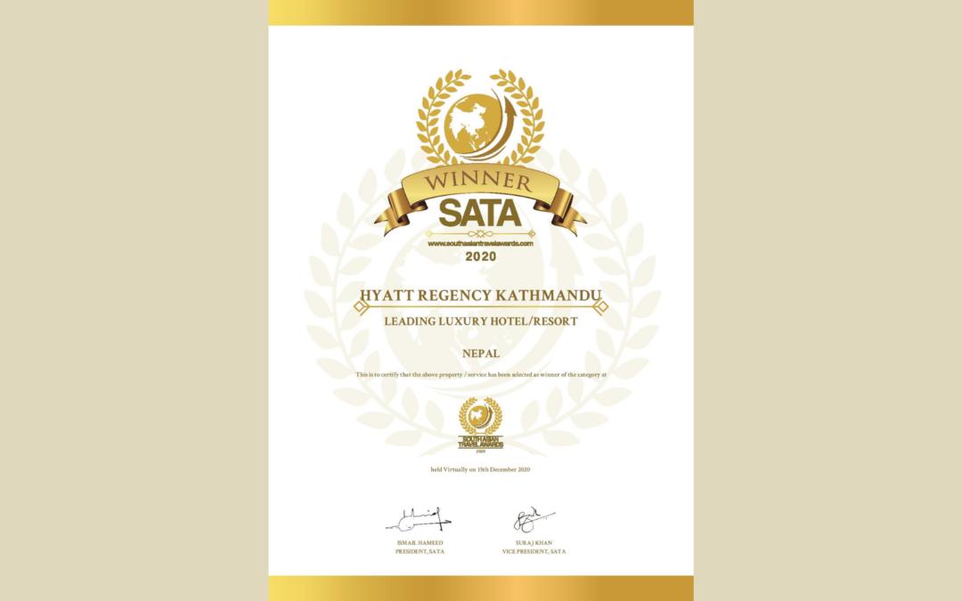 HYATT REGENCY KATHMANDU EARNS LEADING LUXURY HOTEL / RESORT BY SATA